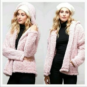 NEW Pink Hooded Sherpa Jacket